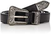 Saint Laurent Women's Leather Skinny Western Belt-BLACK
