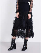 Anna Sui Flared high-rise rosebud floral-lace skirt
