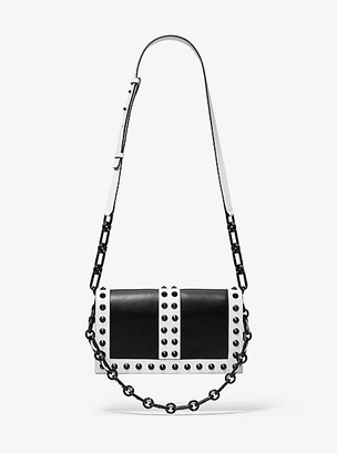 Michael Kors Courtney Studded Two-Tone Leather Shoulder Bag