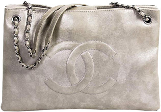 Chanel Metallic Grey Leather Iridescent Timeless Accordion Tote