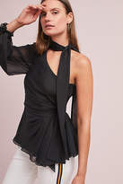 AMUR Katty Silk One-Shoulder Blouse