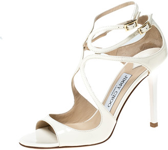 Jimmy Choo Cream Patent Leather Lang 100 Ankle Strap Sandals Size 35.5