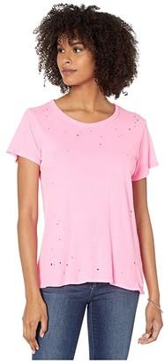 Chaser Gauzy Cotton Jersey Crew Neck Tee (Neon Pink) Women's T Shirt