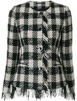 Tagliatore checkered fringed trim jacket