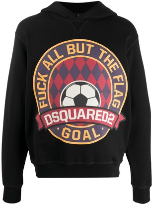DSQUARED2 Goal printed cotton hoodie