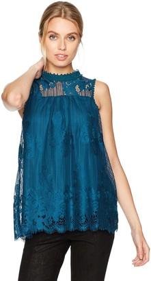 Taylor & Sage Women's Hi Neck Sleeveless Lace Top