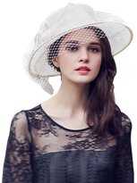 HomArt Women's Summer Kentucky Derby Church Hat Wide Brim Flat Hats