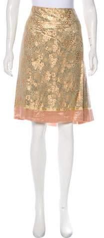 Brocade Silk-Blend Skirt w- Tags