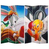Oriental Furniture 6-Feet Tall Double Sided Bugs and Tweety Canvas Room Divider