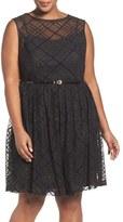 Ellen Tracy Plaid Mesh Fit & Flare Dress (Plus Size)