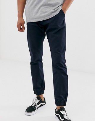 French Connection chino cuff trousers-Navy