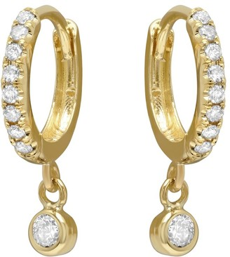 Jennifer Meyer Pave Diamond Mini Huggie Hoops with Diamond Bezel Drop Yellow Gold Earrings