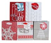 Small Traditional Holiday Gift Bags in Red/White (Set of 5)