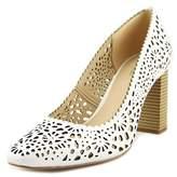 Isaac Mizrahi Zora Women Square Toe Leather White Heels.