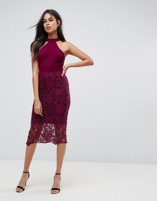 AX Paris Racer Neck Midi Dress With Crochet Lace Skirt And Contrast Lining
