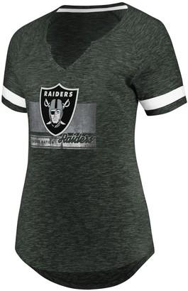 Majestic Women's Heathered Charcoal/White Oakland Raiders Legendary Look V-Neck T-Shirt