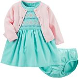Carter's Baby Girl Embroidered Dress & Cardigan Set