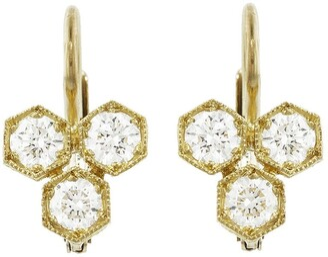 Cathy Waterman Triple Hexagonal Diamond Yellow Gold Earrings