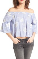 Lush Women's Floral Embroidered Off The Shoulder Top