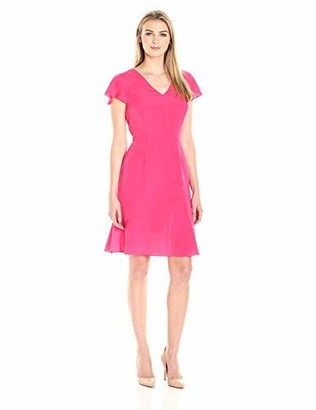 Lark & Ro Amazon Brand Women's Flutter Sleeve V-Neck Fit and Flare Dress