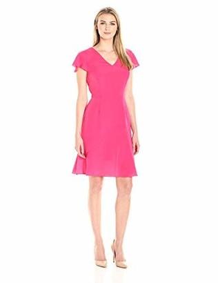 Lark & Ro Amazon Brand Women's Flutter Sleeve V-Neck Fit and Flare Dress