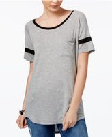 Ultra Flirt Juniors' Striped-Sleeve High-Low T-Shirt