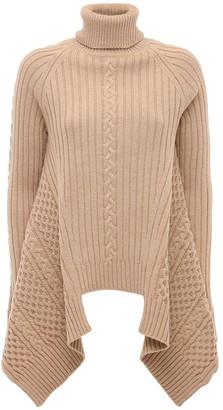 Alexander McQueen Wool Blend Ribbed Knit Sweater W/peplum