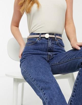 ASOS DESIGN circle buckle skinny hip and waist belt in beige