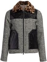No.21 No. 21 Patent & Faux-Fur Trim Tweed Jacket