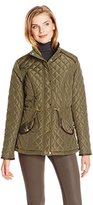 Jason Maxwell Women's Quilted Puffer Jacket with Faux-Leather Trim
