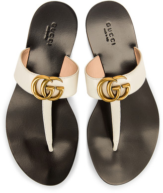 Gucci Double G Leather Thong Sandals in Mystic White   FWRD