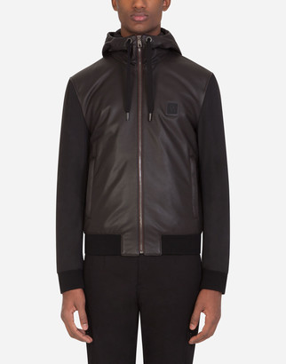 Dolce & Gabbana Leather And Nylon Jacket With Hood