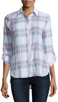 Neiman Marcus Long-Sleeve Plaid Button Blouse, Pink/Natural