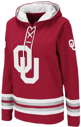 Colosseum Women's Crimson Oklahoma Sooners Striped Lace-Up Pullover Hoodie