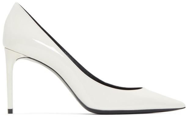 Saint Laurent White Patent Zoe Heels