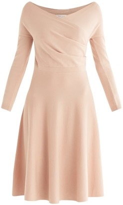 Paisie Cara Knitted Wrap Dress In Blush