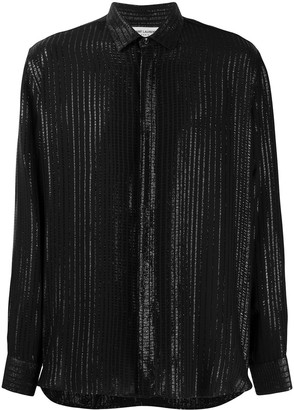 Saint Laurent Metallic-Effect Striped Shirt