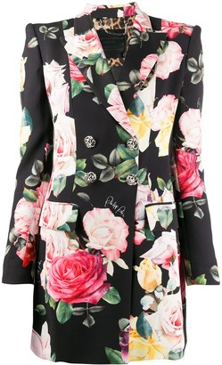 Philipp Plein Floral Print Double-Breasted Blazer