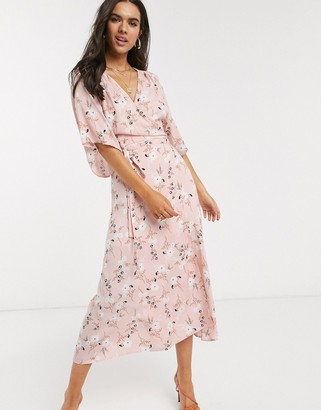 Liquorish wrap front maxi dress in pink floral