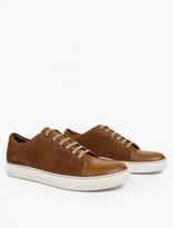 Lanvin Brown Suede Toe-Cap Sneakers