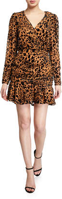Astr Nikita Leopard V-Neck Long-Sleeve Ruffle-Hem Dress
