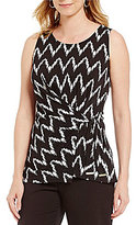 Jones New York Chevron Stripe Textured Knit Side-Tie Top