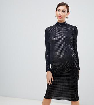 Flounce London Maternity high neck midi dress in black metallic