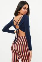 Missguided Navy Cut Out Tie Back Crop Top