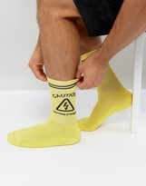 Granted Socks In Yellow With Caution Sign