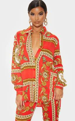 PrettyLittleThing Red Scarf Print Oversized Shirt