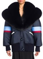 Miu Miu Fox Fur & Nylon Puffer Coat