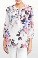 NYDJ Nottingham Floral Printed 3/4 Sleeve Blouse