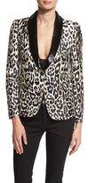Roberto Cavalli Sequined-Lapel Leopard-Print Jacket, Leopard