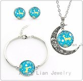 Nobrand No brand cute Sika Deer blue art picture choker necklace earrings bracelet women Christmas jewelry set Mother's gifts
